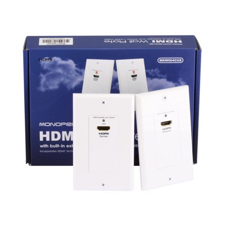 Monoprice HDMI Over Cat5e / Cat6 Extender Wall Plate (Pair), Single Port (1P) - White | FCC and CE Approved