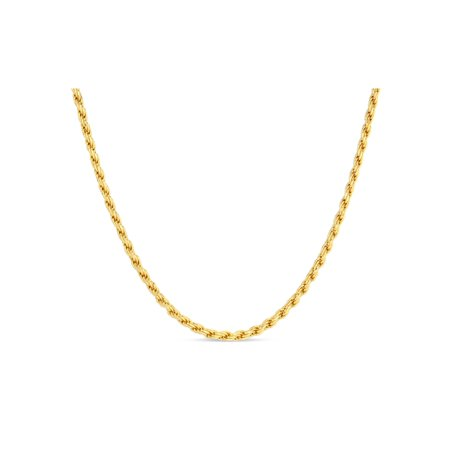18k Rope Necklace - 18k Gold Over Sterling Silver Rope 050 Gauge Chain Necklace 22 Inches