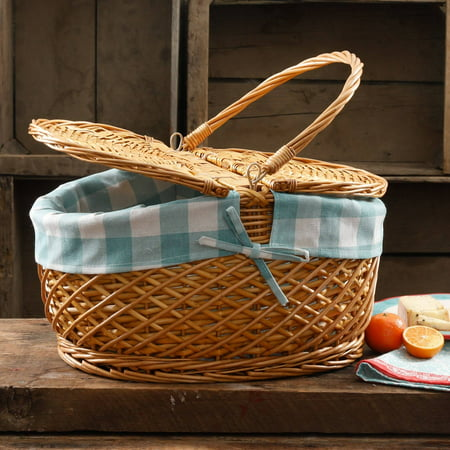 The Pioneer Woman Gingham Picnic Basket Casual English Picnic Basket
