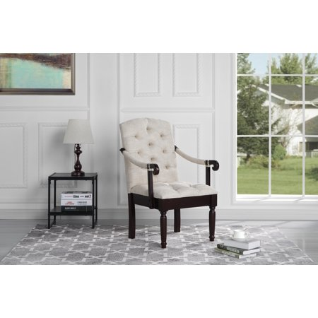 Traditional Upholstered Tufted Linen Accent Dining Chair, Beige