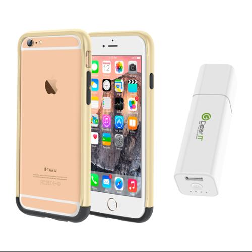 iPhone 6 Case Bundle (Case + Battery Pack), roocase iPhone 6 4.7 Strio Bumper Open Back with Corner Edge Protection Cover with Portable Battery Pack White for Apple iPhone 6 4.7-inch, Champagne Gold