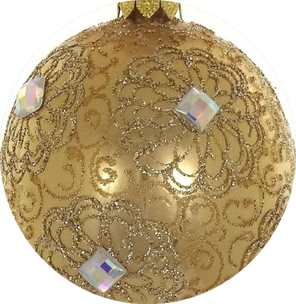 Mouth Blown Polish Glass Gold Amp Amp Clear Christmas Ornament Walmart Com Walmart Com
