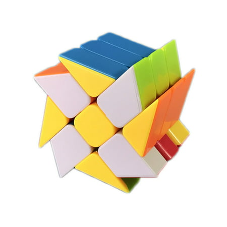 Peralng 3x3 Speed Magic Rubik Cube, Hot Wheel Multicolor Base Twisty Skewb Magic Cube Puzzle Toy,