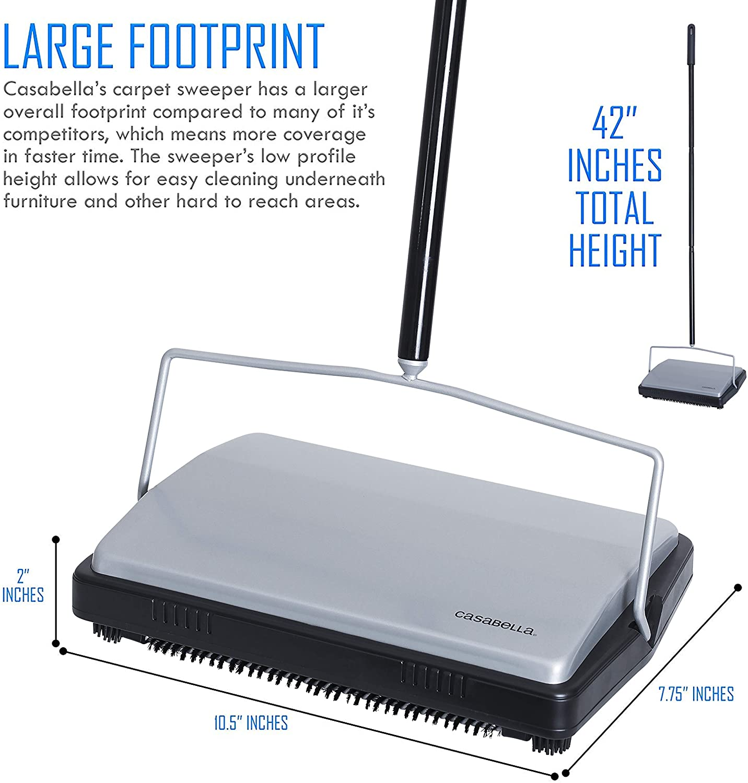 Casabella Carpet Sweeper 11 Inch Lightweight Electrostatic Floor Cleaner