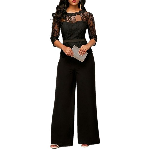 Plus Size Women Slim Lace Jumpsuit Long Romper