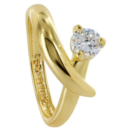 Gem Avenue 18k Gold Layered Cubic Zirconia Marquise Prong Set Ring Size 6.5