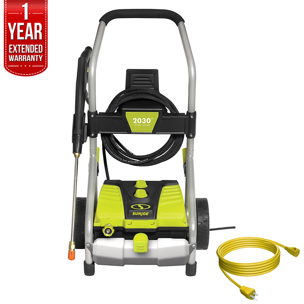 Sun Joe SPX4001 Pressure Joe 2030 PSI Electric Pressure Washer All You Need Bundle with 25 Foot Outdoor Extension Cord and One year Warranty Extension