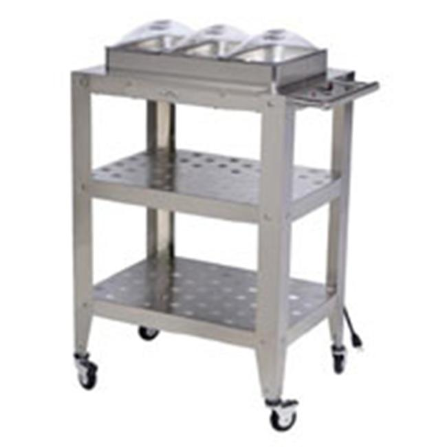Broil King WBC-3SP-Triple Buffet Warming Cart with Clear Individual Lids