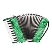 22-Key 8 Bass Piano Accordion with Straps Gloves Cleaning Cloth Educational Music Instrument, Green