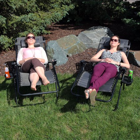 Fine Sunnydaze Outdoor Xl Zero Gravity Lounge Chair With Pillow And Cup Holder Folding Patio Lawn Recliner Charcoal Set Of 2 Beatyapartments Chair Design Images Beatyapartmentscom