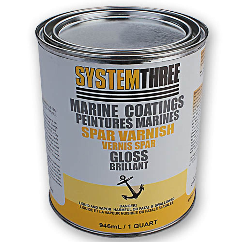 System Three 1850S16  Clear Marine Spar Urethane Varnish Coating, 1 Quart Can