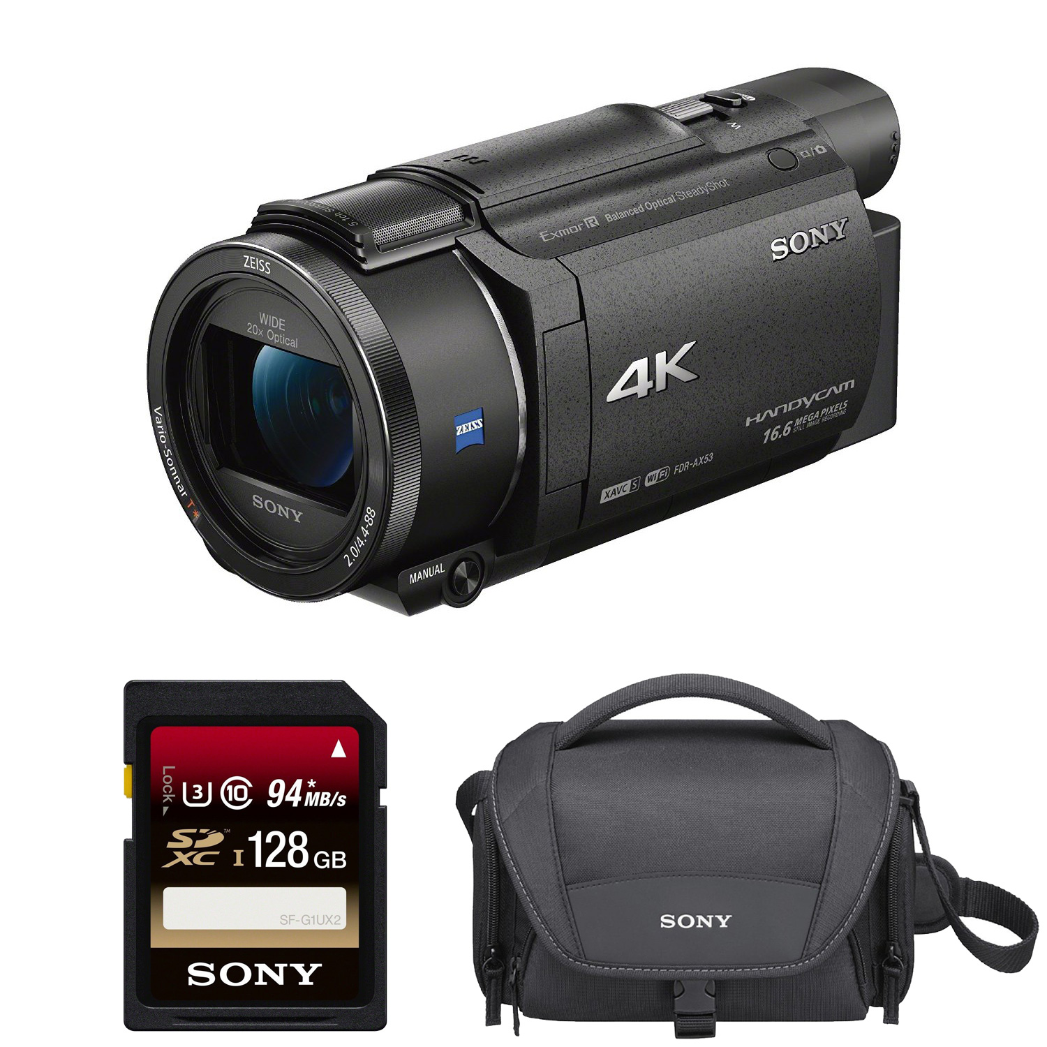 Sony FDR-AX53 UHD 4K Camcorder (Black) + 128GB Memory Card + Carrying Case by Sony
