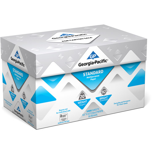 Georgia-Pacific Standard Multipurpose Paper, 8.5 x 11, 20 lb., 92 Brightness, 10 Ream Case, 5,000 Sheets