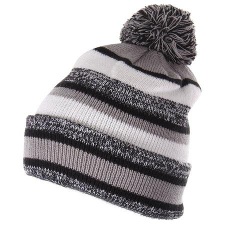 d36ff815 Enimay Winter Pom Pom Knit Beanie Cuffed Skull Cap Striped Team Beanie  Black | Gray One Size