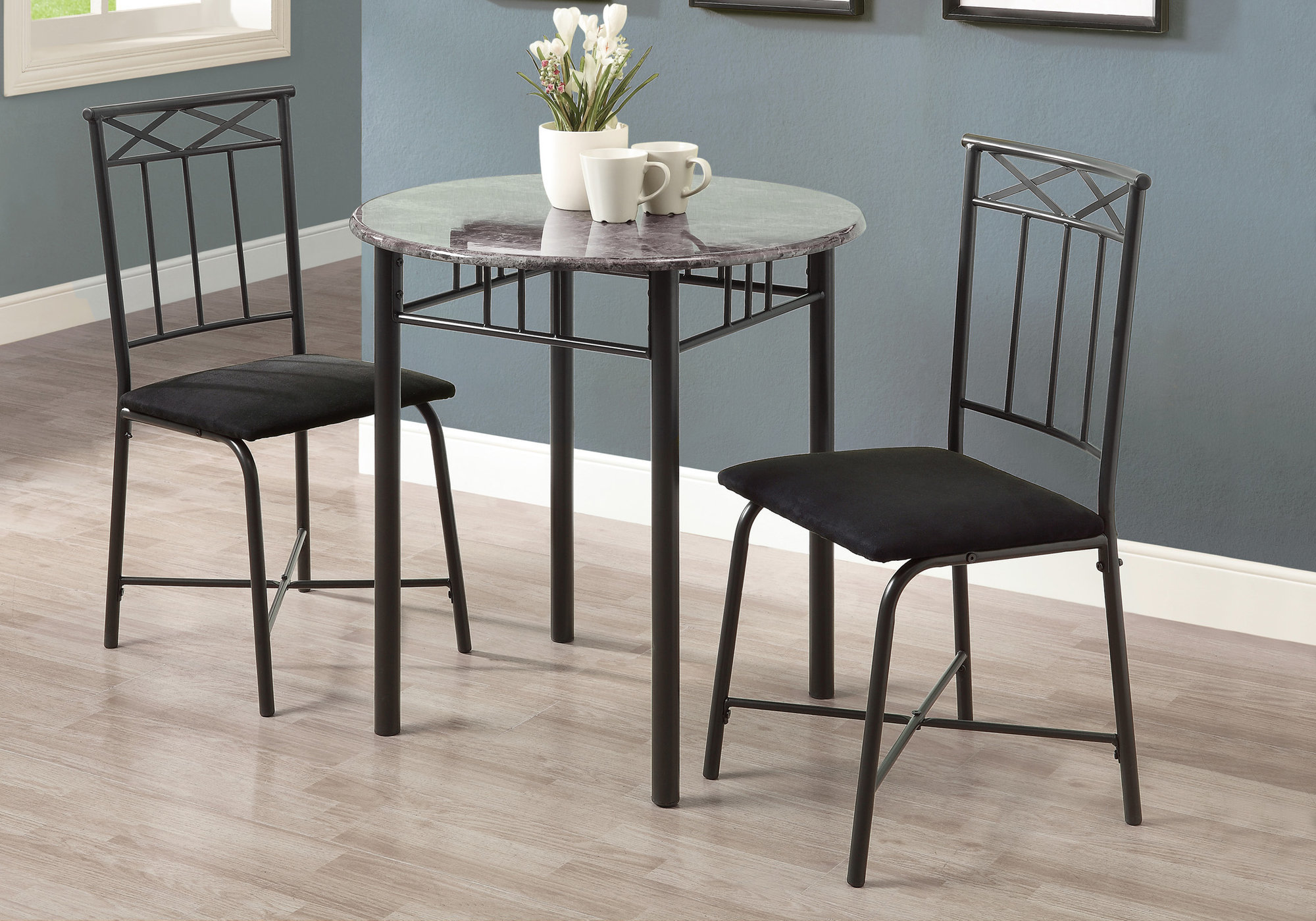 Monarch Dining Set 3Pcs Set / Grey Marble / Charcoal Metal
