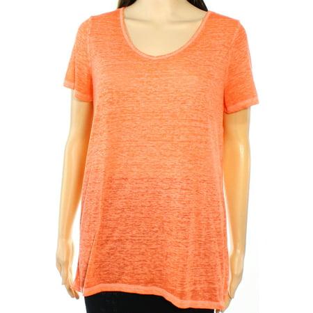 INC NEW Coral Orange Womens Size Large L V-Neck Burn-Out Knit Top
