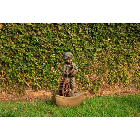 - Alpine Boy with Bucket Boat Fountain, 24 Inch Tall