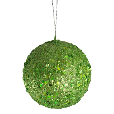 Fancy Lime Green Holographic Glitter Drenched Christmas Ball Ornament 4.75