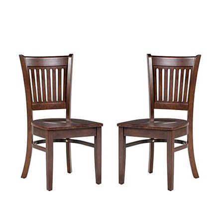 Asia Chair (Trithi Furniture Bellingham Asian Solid Wood Kitchen & Dining Esso Brown Chair with Wooden Seat - Set of 2 )