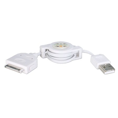 QVS 0.5M USB Sync & 2.1Amp Charger Retractable Cable for iPod/iPhone & -