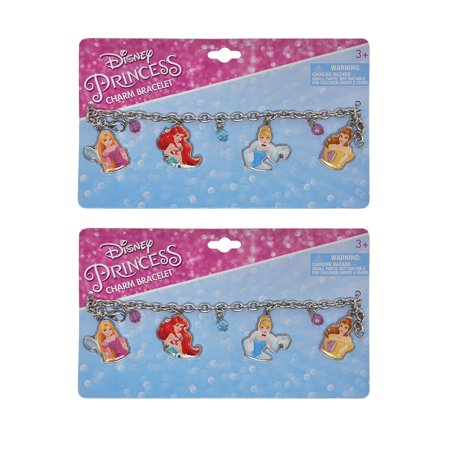 Girls Disney Princesses Charm Bracelets 2-PACK Ariel Cinderella Belle Rapunzel
