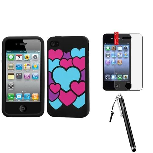 Insten Colorful Love/Black Pastel Skin Case For Apple iPhone 4 4S + Stylus + Screen Guard