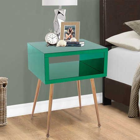 Mirror Coffee Table Side Table Bedside Table, Smooth Desktop Stainless Steel Base Bedside Table Side Table, Indoor Home Bedside Table, Modern Style Side Table Looks Good and Durable Green