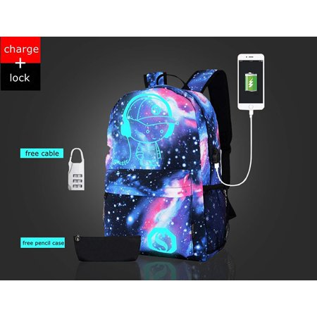 07076312b54 School Canvas Glow Backpack with USB Charging Port - Fashon glow in the  dark Galaxy Backpack