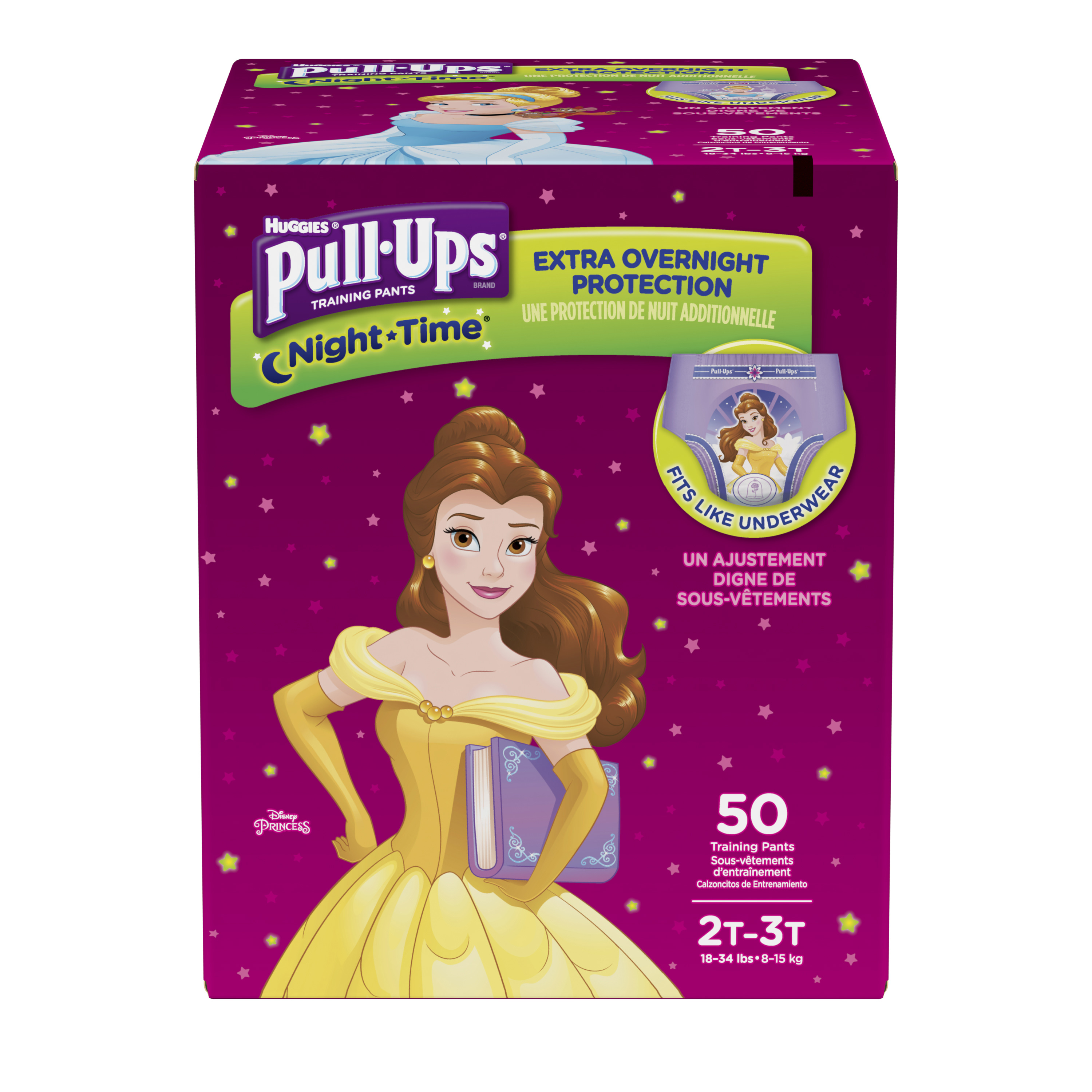 Pull-Ups Night-Time Potty Training Pants for Girls, 2T-3T (18-34 lb.), 50 Ct. (Packaging May Vary)