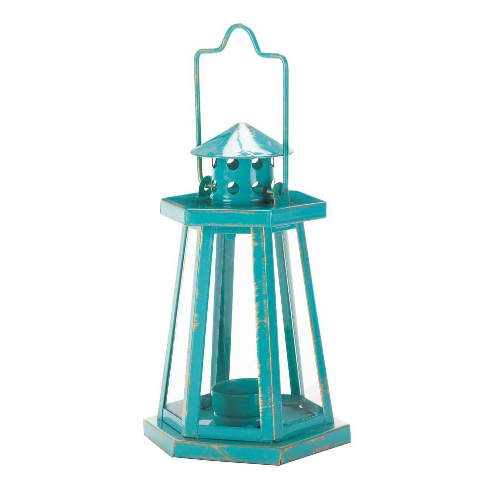 Glass Lanterns, Aqua Lighthouse Mini Metal Hanging Outdoor Candle Lantern (Sold by Case, Pack of 12)
