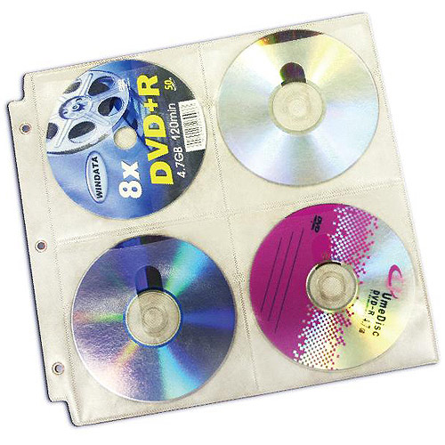 Inland U-Jam CD/DVD 3-Ring Binder Sleeve, 20-Pack