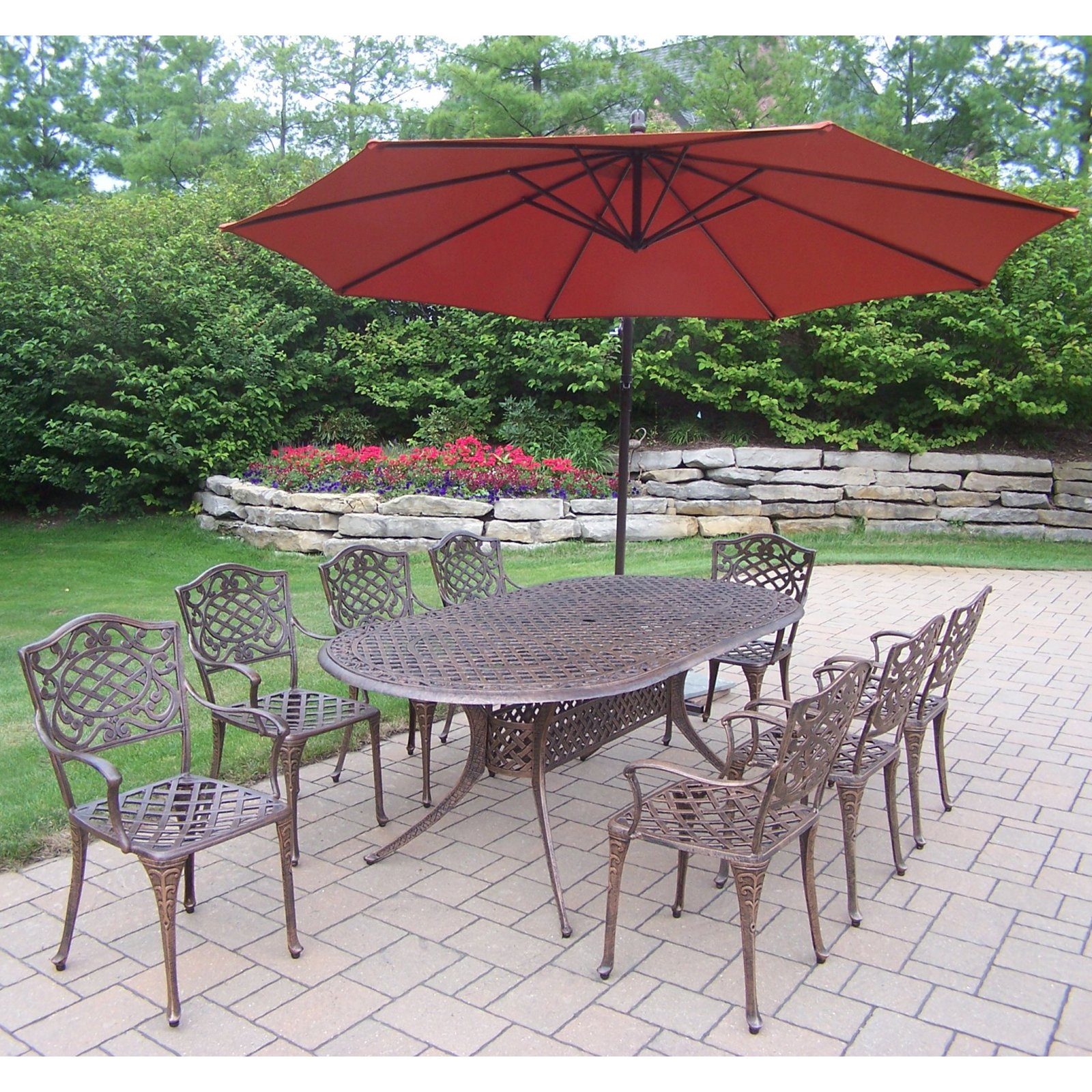 Oakland Living Mississippi Cast Aluminum 82 x 42 in. Oval Patio Dining Set with Cantilever Umbrella