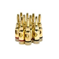 5 PAIRS OF High-Quality Gold Plated Speaker Banana Plugs, Open Screw Type