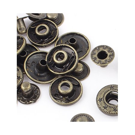 6 Sets 15mm Dia Cap Metal Sewing Finish Poppers Snap