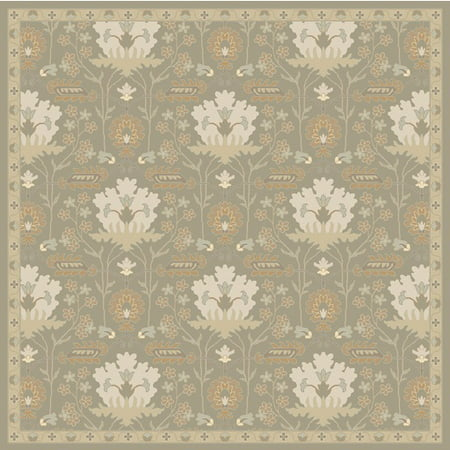 6 Romantic Caesar Olive Green And Ivory White Square Area