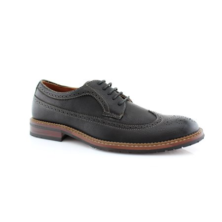 Ferro Aldo Phillip MFA19312 Black Color Lace-up Oxfords With Classic Wingtip Brogue Design and Outer Stitch Lining Dress Shoes For Work or Casual