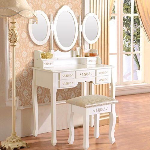 Uenjoy White Dressing Table Set Vanity Makeup Table with Stool &7 Drawer&Folding by Uenjoy