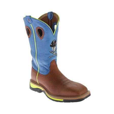d1781c8465f twisted x men's neon blue lite cowboy work boot soft square toe - mlcw012