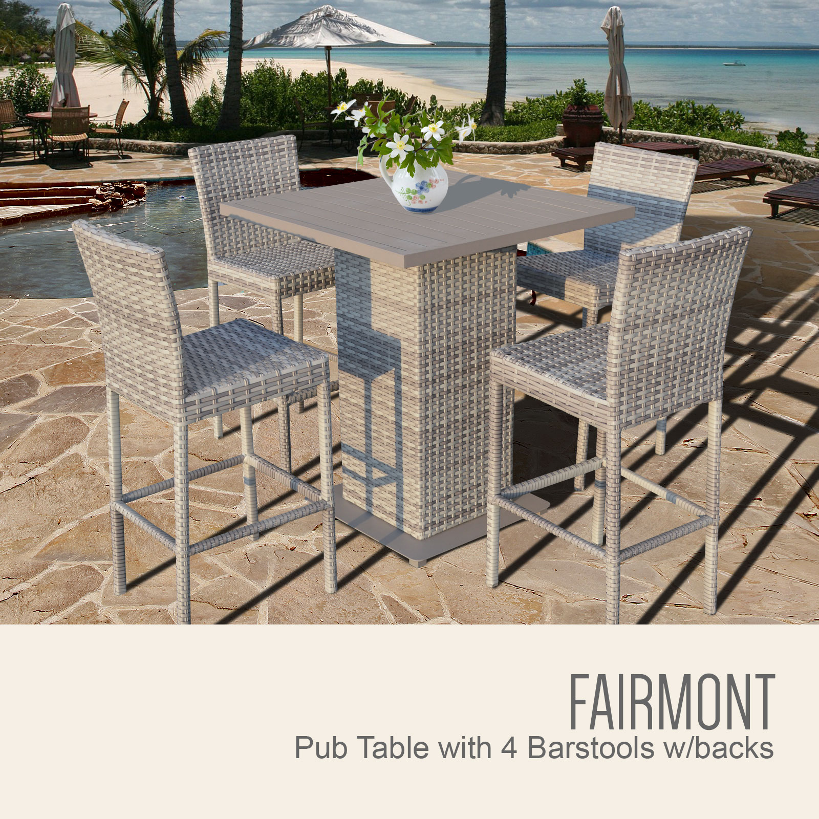 Fairmont Pub Table Set With Bar Stools 5 Piece Outdoor Wicker Patio Furniture-Color:Vanilla Cré by TK Classics