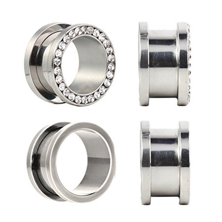 00G Plugs Stainless Steel Screw Fit Rim Gemmed 10mm Tunnel - 4 Pieces