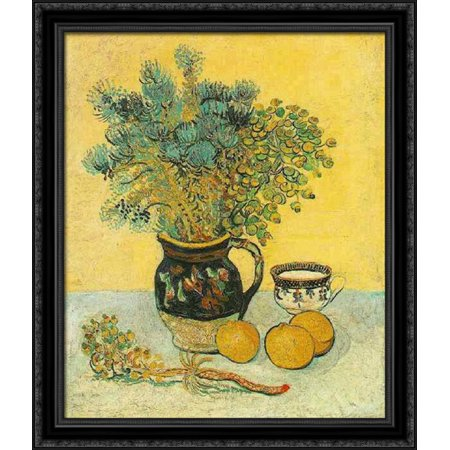 Large Majolica (Still Life Majolica Jug with Wildflowers 28x34 Large Black Ornate Wood Framed Canvas Art by Vincent van Gogh)
