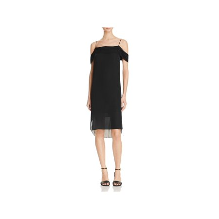 T by Alexander Wang Womens Silk Off-The-Shoulder Cocktail Dress Black 6 (Black Silk Cocktail)