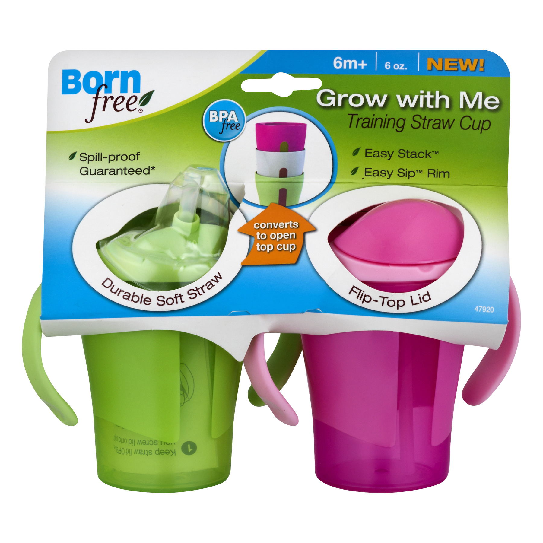 Born Free Grow With Me Straw Trainer Sippy Cup - 2 pack