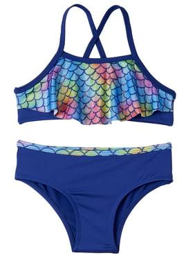 Pink Platinum Flounce Mermaid Scales Bikini Swimsuit (Baby Girls & Toddler Girls)