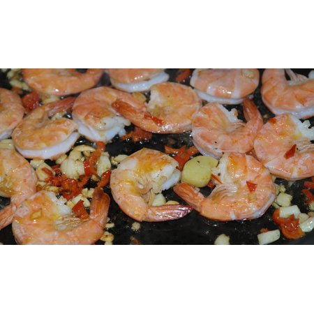 Canvas Print Seafood Eat Scampi Court Grilled Shrimp Food Stretched Canvas 10 x 14