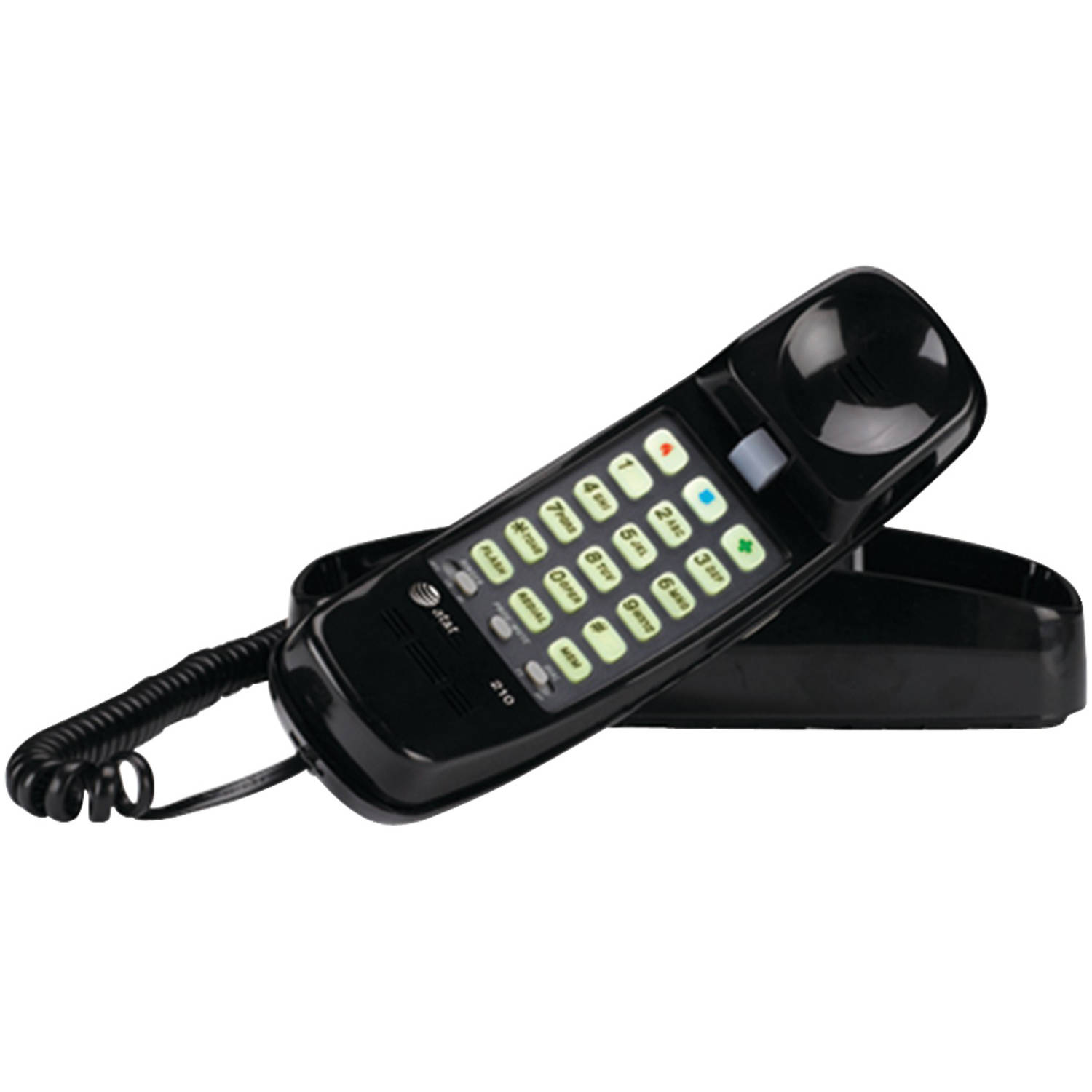 AT&T 210M Corded Trimline Phone with Lighted Keypad, Black
