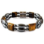 """7.5"""" inch Tiger Eye Double Line Magnetic Hematite Beads And Clasp Magnetic Bracelet for Men and Women"""