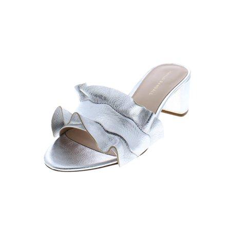 585c8c2612d Loeffler Randall - vera ruffle metallic leather slide sandals - Walmart.com