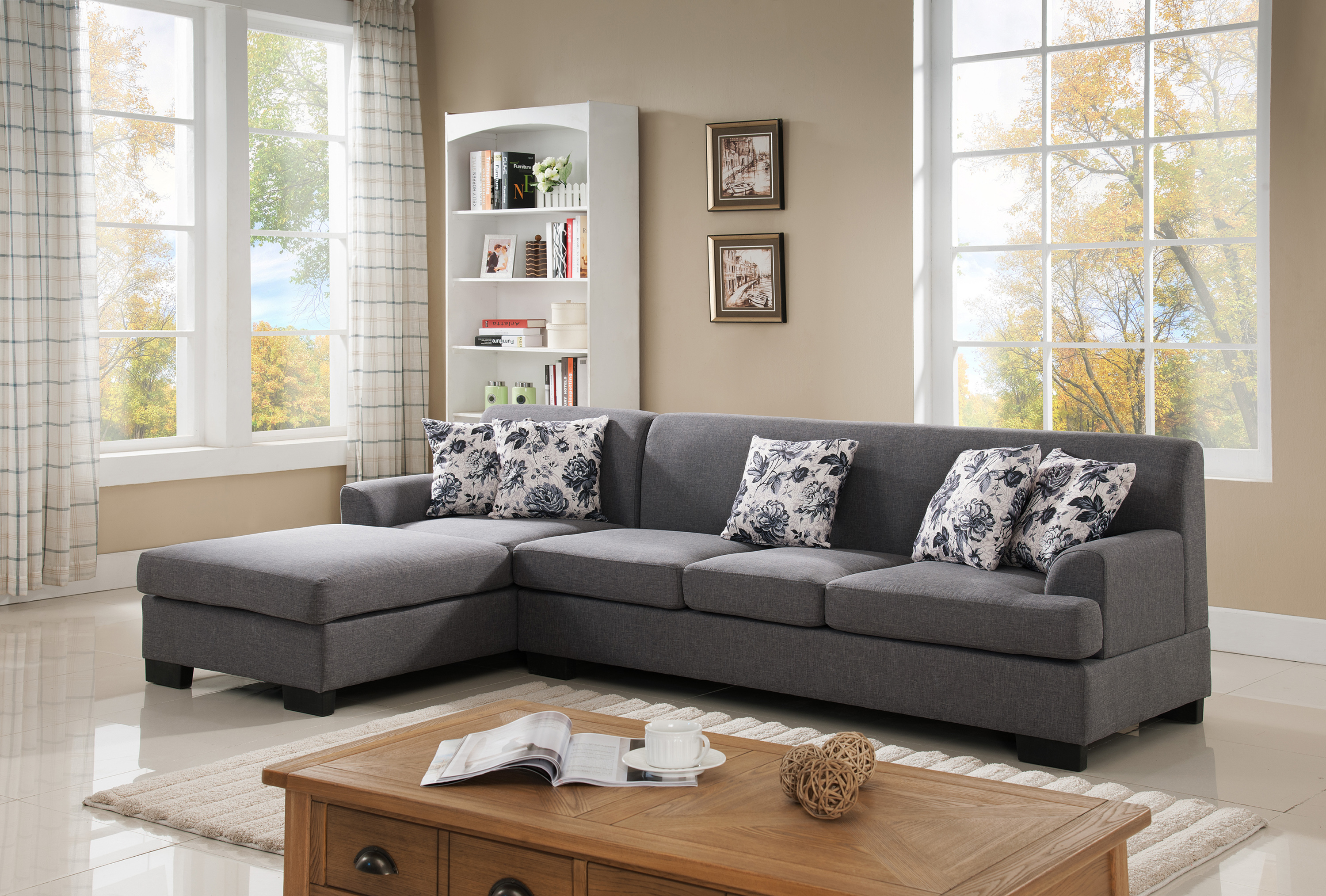 Allen Modern Fabric Upholstered 2-Pc Configurable Left or Right Facing Sectional Sofa, Grey by US Pride Furniture