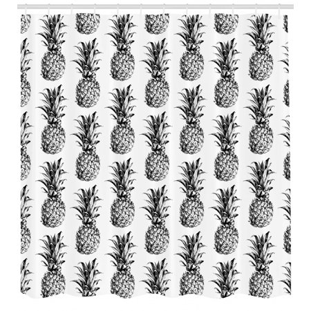Pineapple Shower Curtain, Artistic Hand Drawn Tropical Theme Vintage Style Pineapple Fruit Pattern, Fabric Bathroom Set with Hooks, Black Gray White, by Ambesonne ()